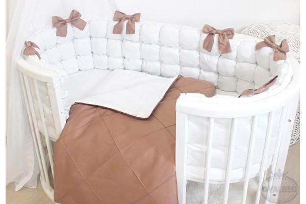 """Комплект постельного белья  """"Бело-шоколадные помпоны"""""""