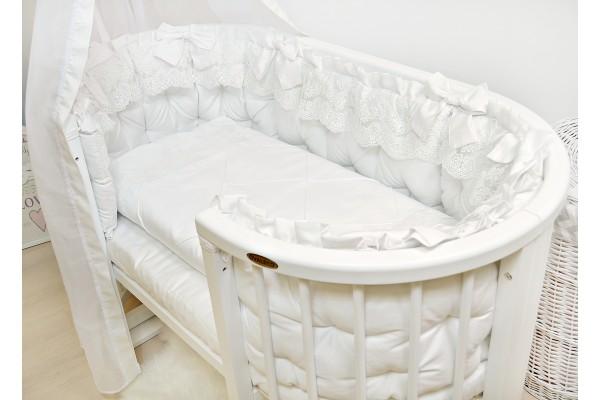 """Набор в кроватку 8в1 """"Блюмарин"""" белый Lux сатин"""