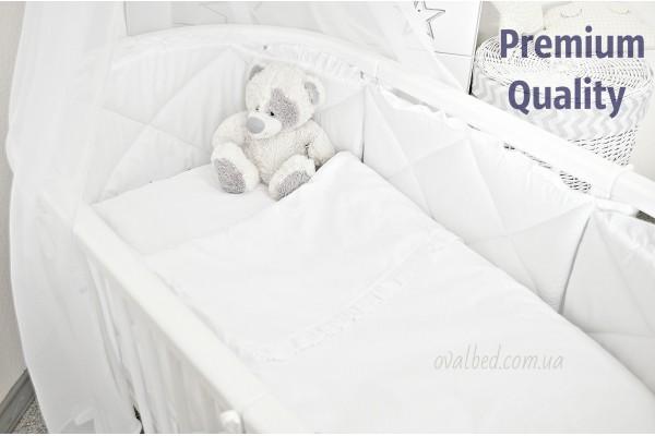 """Комплект постельного белья 7в1 """"Стежка белая с рюшами"""" Сатин люкс"""