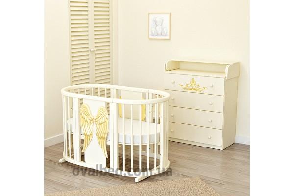 Овальная кроватка Ovalbed Angel Wings gold + укачивание в подарок
