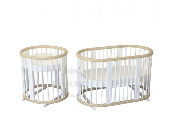 Кроватка-трансформер Ovalbed Deluxe  Natural+White +колеса