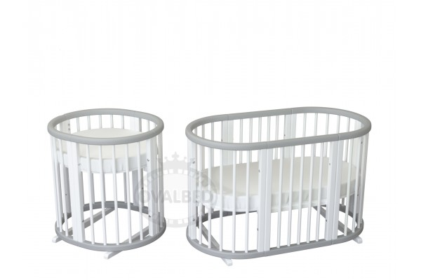 Овальная кроватка Ovalbed Deluxe Monohroom +колеса+ полозья
