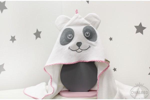 """Уголок-полотенце для купания """"Панда розовая"""""""