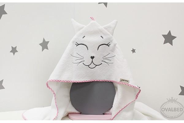 """Уголок-полотенце для купания """"Котик розовый"""""""