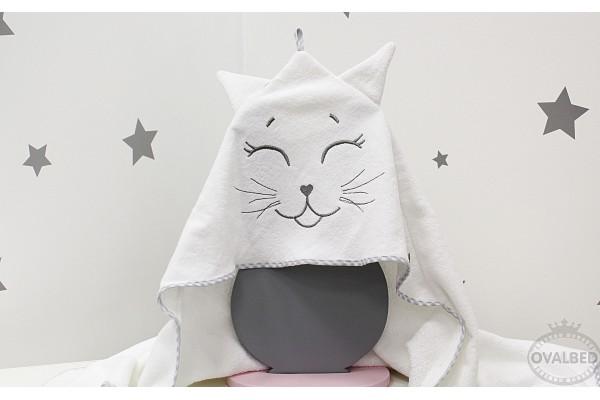 """Уголок-полотенце для купания """"Котик серый"""""""