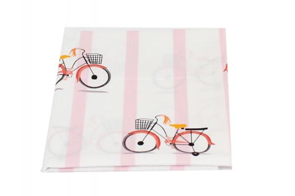 """Хлопковая пеленка """"Велосипеды и розовая полоска"""""""
