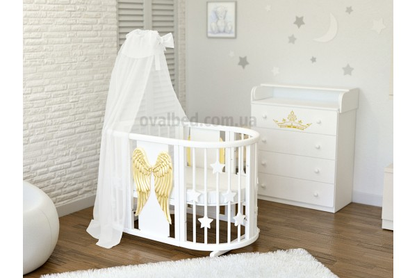 Овальная кроватка 8в1 Ovalbed Angel Wings gold + укачивание