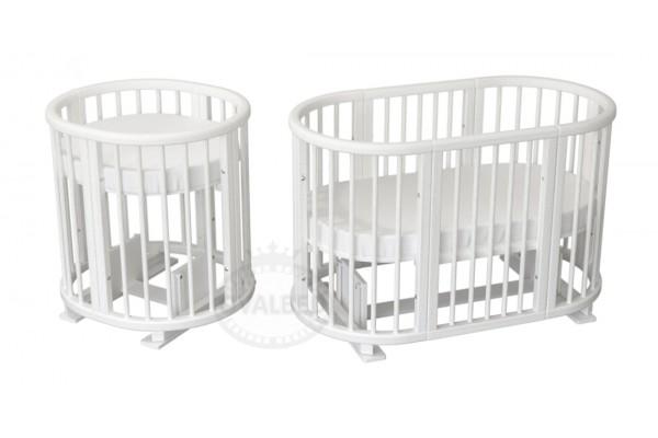 Овальная кроватка Ovalbed Deluxe White  (маятник+колеса)