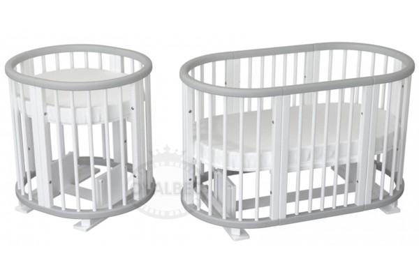 Овальная кроватка Ovalbed Deluxe Monohroom 9в1 (маятник+колеса)