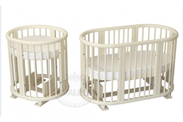 Овальная кроватка Ovalbed 8в1 Vanilla Lux  (маятник+колеса)