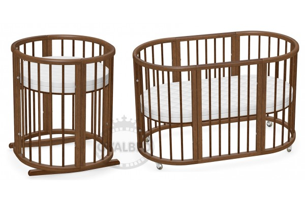 Овальная кроватка 8в1 Ovalbed Brown Premium 38mm