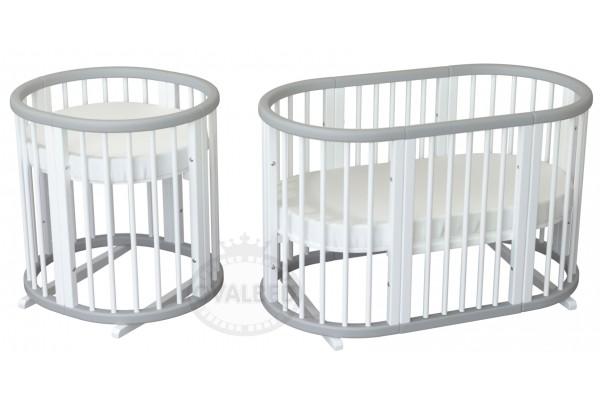 Овальная кроватка трансформер 8в1 Ovalbed Grey+White Premium(колеса+полозья)