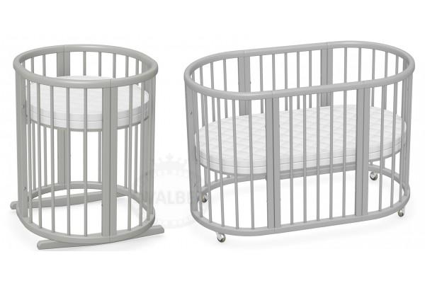 Овальная кроватка трансформер 8в1 Ovalbed Gray +колеса