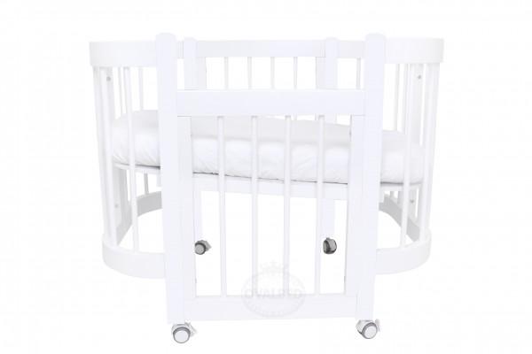 Круглая кроватка-трансформер Ovalbed Happy Mom White