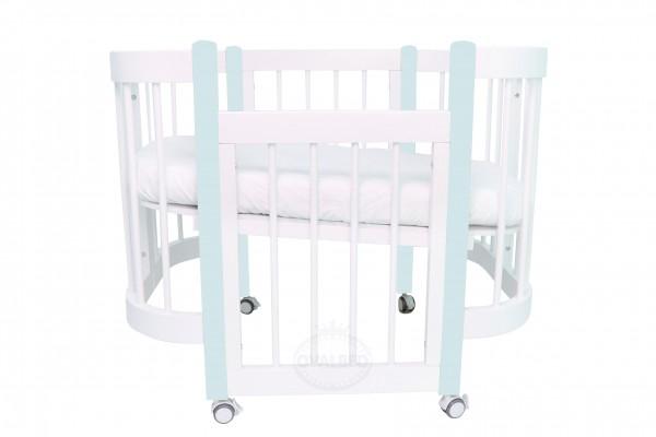 Круглая кроватка-трансформер Ovalbed Happy Mom Light Mint