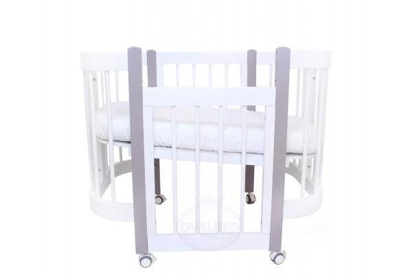 Круглая кроватка-трансформер 3в1 Ovalbed Happy Mom monohrom