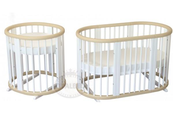Овальная кроватка 8в1 Ovalbed Natural+White Premium ( колеса+полозья)