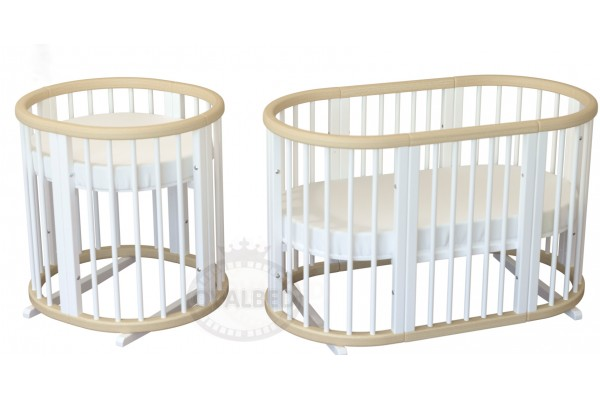 Овальная кроватка 8в1 Ovalbed Natural+White Premium + колеса