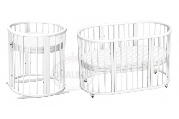 Овальная кроватка Ovalbed Deluxe White +колеса