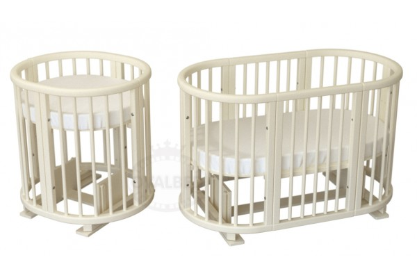 Овальная кроватка Ovalbed Deluxe 9в1 Vanilla  (маятник+колеса)