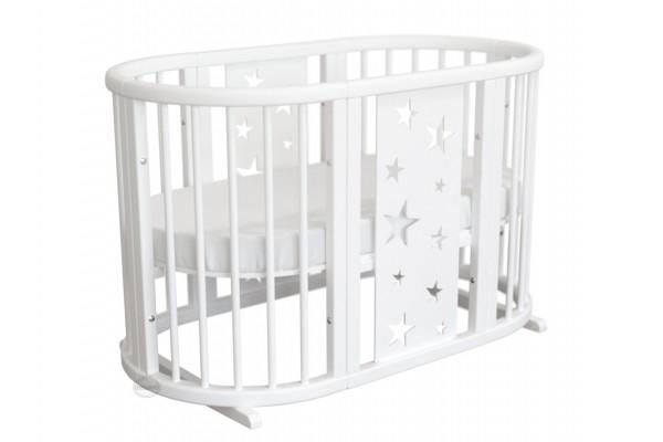 Круглая кроватка-трансформер 8в1 Ovalbed Stars Light White