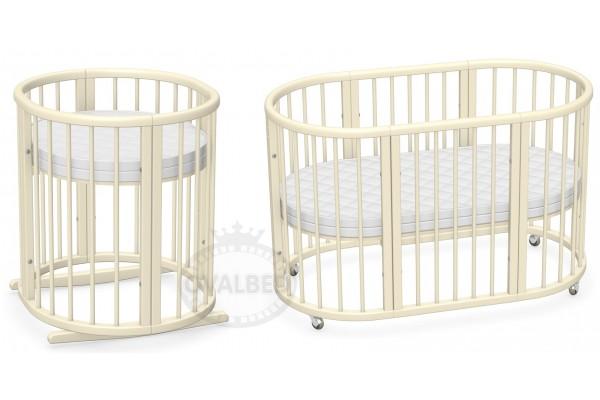 Овальная кроватка 8в1 Ovalbed Vanila Premium(60*120) колеса+полозья для укачивания.