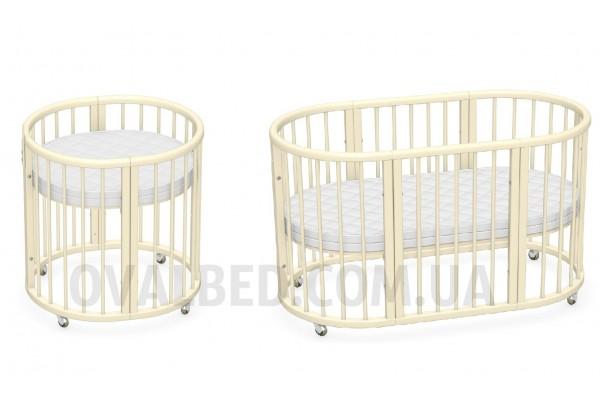 Овальная кроватка Ovalbed Deluxe  Vanilla  +колеса+ полозья