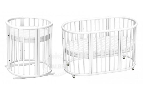 Овальная кроватка 8в1 Ovalbed Premium (60*120) колеса+полозья для укачивания.