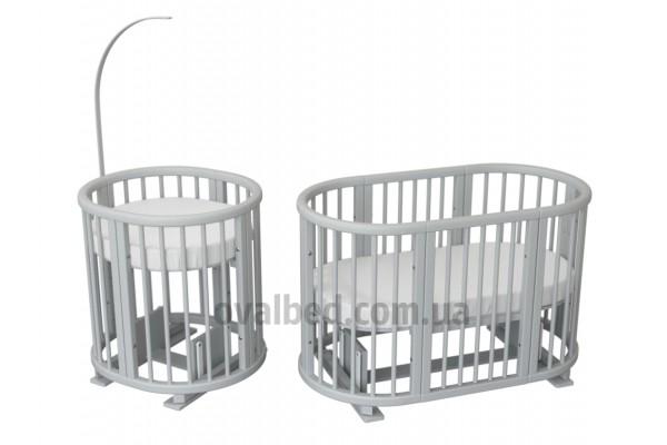 Овальная кроватка 8в1 Ovalbed  gray Lux + маятник