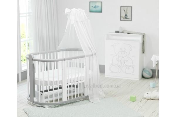 Круглая кроватка-трансформер 8в1 Ovalbed Maxi Monohrom