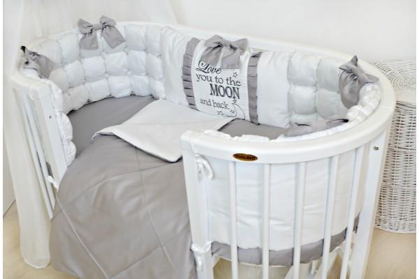 """Набор постельного в овальную кроватку """"Love moon""""серый"""